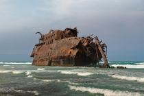 The abandoned hulk of MS Cabo Santa Maria wrecked in