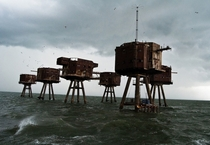 The abandoned Maunsell Sea Forts in England