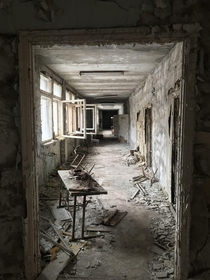 The abandoned school in Chernobyls Pripyat town