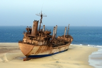 The abandoned ship United Malika off the coast of Mauritania