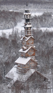 The abandoned stacked cabin Dr Seuss House in Alaska - owner spent  years building it until his death