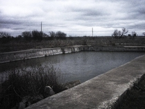 The abandoned swimming pool at the seized Branch Davidian Compound in Waco Texas