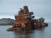 The abandoned wreck of the Soviet cruiser Murmansk