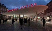 The above-ground entrance hall for the subterranean Nrreport Station Indre By Copenhagen The station is the busiest in Denmark serving  passengers daily