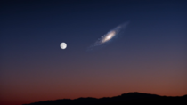 The actual size of the Andromeda galaxy compared to our moon
