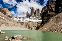 The actual view at the end of the Torres del Paine Trek