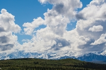 The Alaska Range near Mt McKinley with Towering Clouds