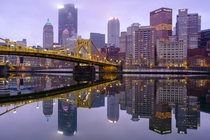 The Allegheny river was so still this morning that it looked like a mirror Pittsburgh PA USA