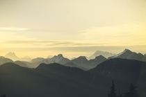 The am morning sun peaking over the Garibaldi Ranges A favourite sunrise hike of mine