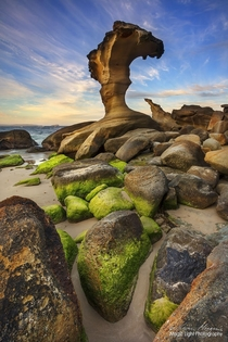 The amazing natural rock sculptures at the southern end of Hargraves Beach in Noraville on the Central Coast of New South Wales Australia