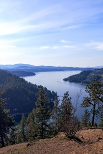 The amazing view from the east end of Lake Coeur dAlene at the top of Mineral Ridge in beautiful North Idaho x OC