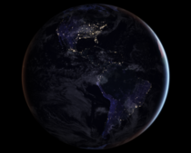 The Americas at night courtesy of NOAAs GOES- Satellite