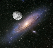 The Andromeda Galaxy appears larger than the moon in the sky but it is fairly faint and hard to see with the naked eye