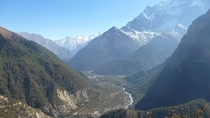 The Annapurna really offers amazing sceneries Photo taken near Manang Nepal Elevation  meters