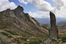 The anvil and the needle on the way down from Pico Zapatero Avila Spain  x