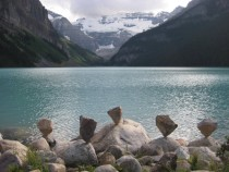 The art of rock balancing in Lake Louise Alberta OC