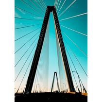 The Arthur Ravenel Bridge in Charleston South Carolina at sunset