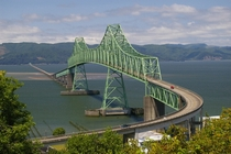 the Astoria-Megler Bridge crossing the mouth of the Columbia River between Oregon and Washington is the longest continuous truss bridge in North America at  miles  km long