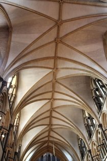 The asymmetrical crazy vaults of the choir in Lincoln Cathedral- a unique architectural element Geoffrey de Noiers c