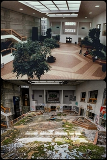 The atrium area of a community College when it was still active compared to this past weekend