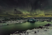 The Aurora and a shooting shot Jokulsarlon Iceland