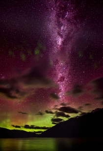 The Aurora Australis on the South Island of New Zealand This is between Queenstown and Kingston