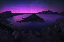 The Aurora Borealis does a rare dance over Crater Lake Oregon by Alex Noriega