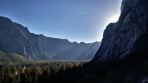 The Autumn sun perfectly hitting Yosemite Valley