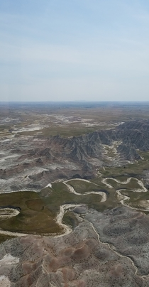 The Badlands in South Dakota from the air