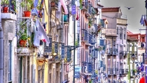 The balconies of picturesque Bairro Alto in Lisbon Portugal