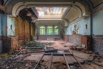 The ballroom of an abandoned hotel  Photographed by Andy Schwetz