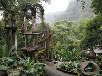 The Bamboo Palace in a foggy day inside of the Sculptural Garden of Edward James in Xilitla Mexico