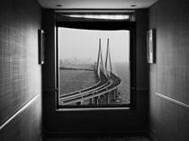 The Bandra-Worli Sea Link an eight-lane state-of-the-art cable-stayed bridge that hugs the Mumbai coastline as seen from the Taj Lands End Hotel Fanil Rajgor