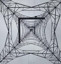 The base of a transmission tower