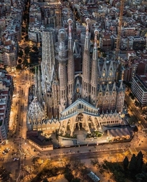 The Baslica de la Sagrada Famlia - Barcelona Spain - Architect Antoni Gaudis masterpiece began in  combining Spanish Late Gothic Catalan Modernism and curvilinear Art Nouveau styles - Gaud  is buried in the Basilica crypt - Expected completion in