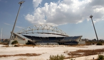 The Beach Volleyball arena from the  Olympic Games in Athens Greece stands abandoned