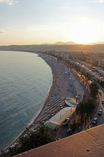 The beachfront of Nice France at sunset