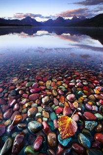 The beautiful and colorful Pebble Shore Lake in Glacier National Park Montana cross-post from rpics