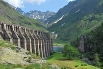 The beautiful but tragically failed Gleno Dam Province Bergamo northern Italy
