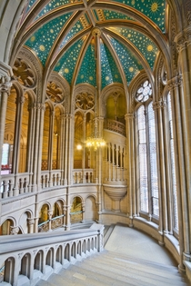 The beautiful gothic staircase inside Manchester Town Hall England