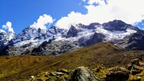 The beautiful monster Salkantay Mountain as seen backpacking to Machu Picchu near Cusco Peru OC