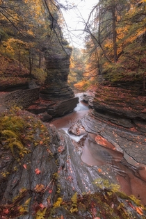 The beautiful rock formations of Buttermilk Falls New York