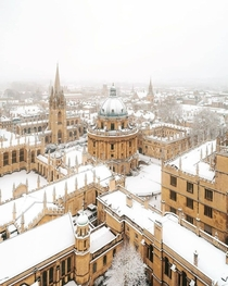 The beautiful University of Oxford in the snow - Oxford England