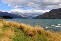 The beautiful waters of Lake Wakatipu on a breezy summer day in Queenstown New Zealand