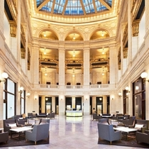 The beautifully restored lobby of the David Whitney Building