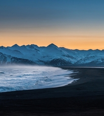 The beauty of a black sand beach in Iceland  during the blue hour and a windy day  - more of my landscapes at insta glacionaut