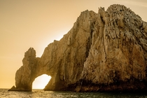 The beauty of the Arch of Cabo at sunset the very end of the peninsula with no people
