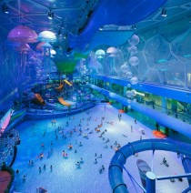 The Beijing water cube now transformed into a water park