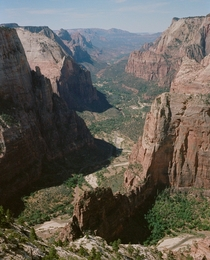 The best view in Zion in my opinion From Observation Point overlooking Angels Landing Zion National Park Utah