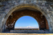 The Bible says that after the flood Noahs ark landed on Mount Ararat seen here through the Arch of Charents